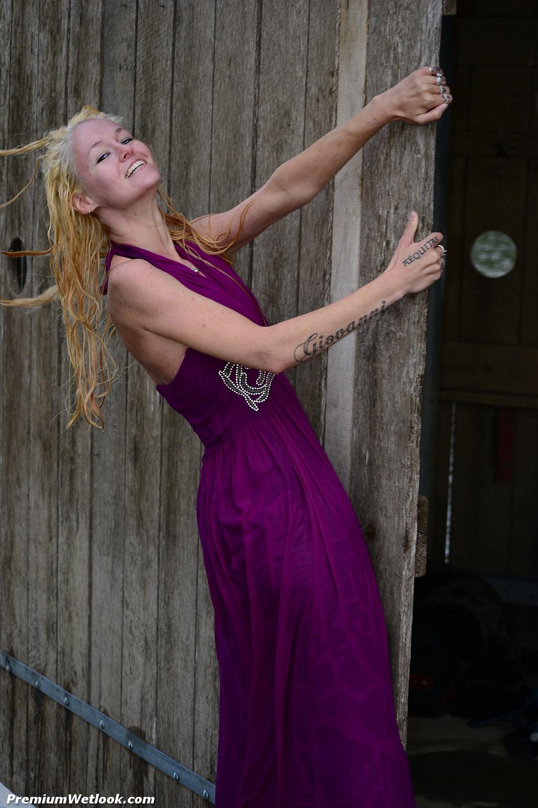 Sietske In A Long Purple Dress Gets Her Long Blond Hair